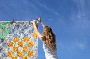 Hanging Quilt ON a Clothesline