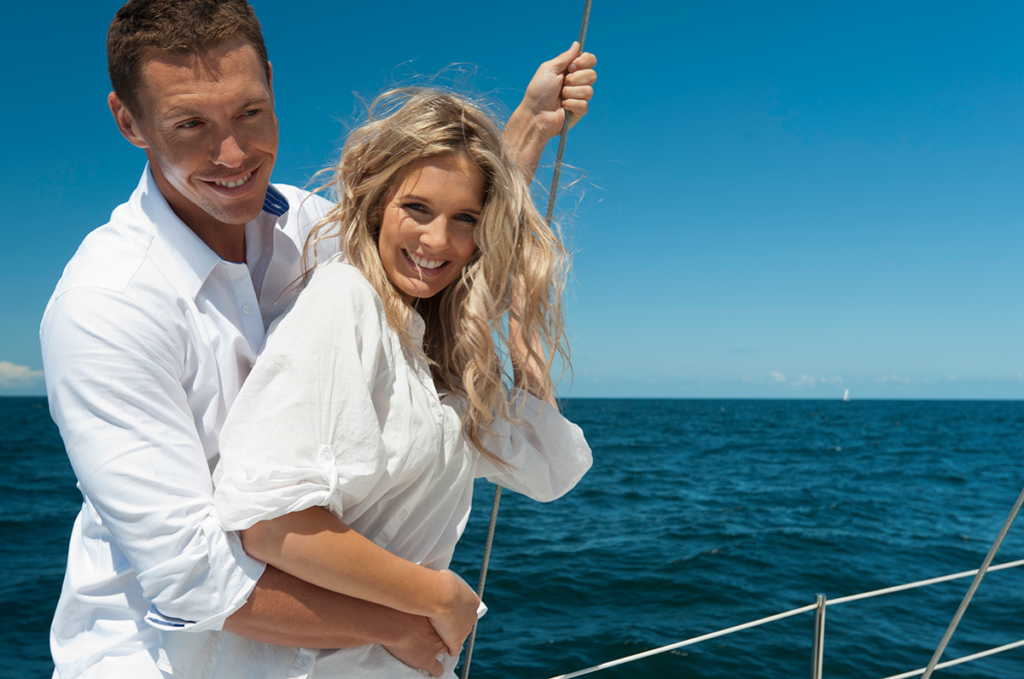 White Preppy couple on a boat